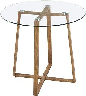 IPOTIUS Mesa de Comedor Redonda de Cristal Mesa de Cocina Café Moderna NórdicaPatas de Metal 80X75cm