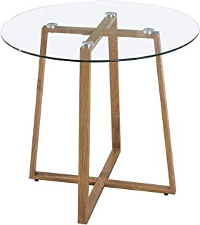 EGGREE Table en Verre Salle à Manger Ronde Scandinave Design pour 2 4 Personne Table de Cuisine, Pieds en Métal,80x 75cm
