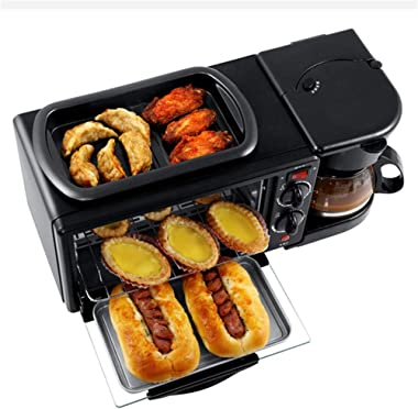 Household Multifunctional Breakfast Machine 3 in 1 Electric Oven Bread Machine Toaster Oven Pizza Maker Coffee Maker Frying P