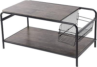 Homy casa Inc Storage Shelf, Living Room Wood Coffee Industrial Metal coffe table, brown