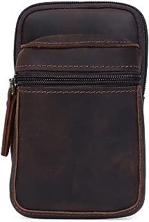 Genda 2Archer Men's Leather Small Fanny Pack Waist Purse Belt Bag Bum Pouch one size Dark Brown