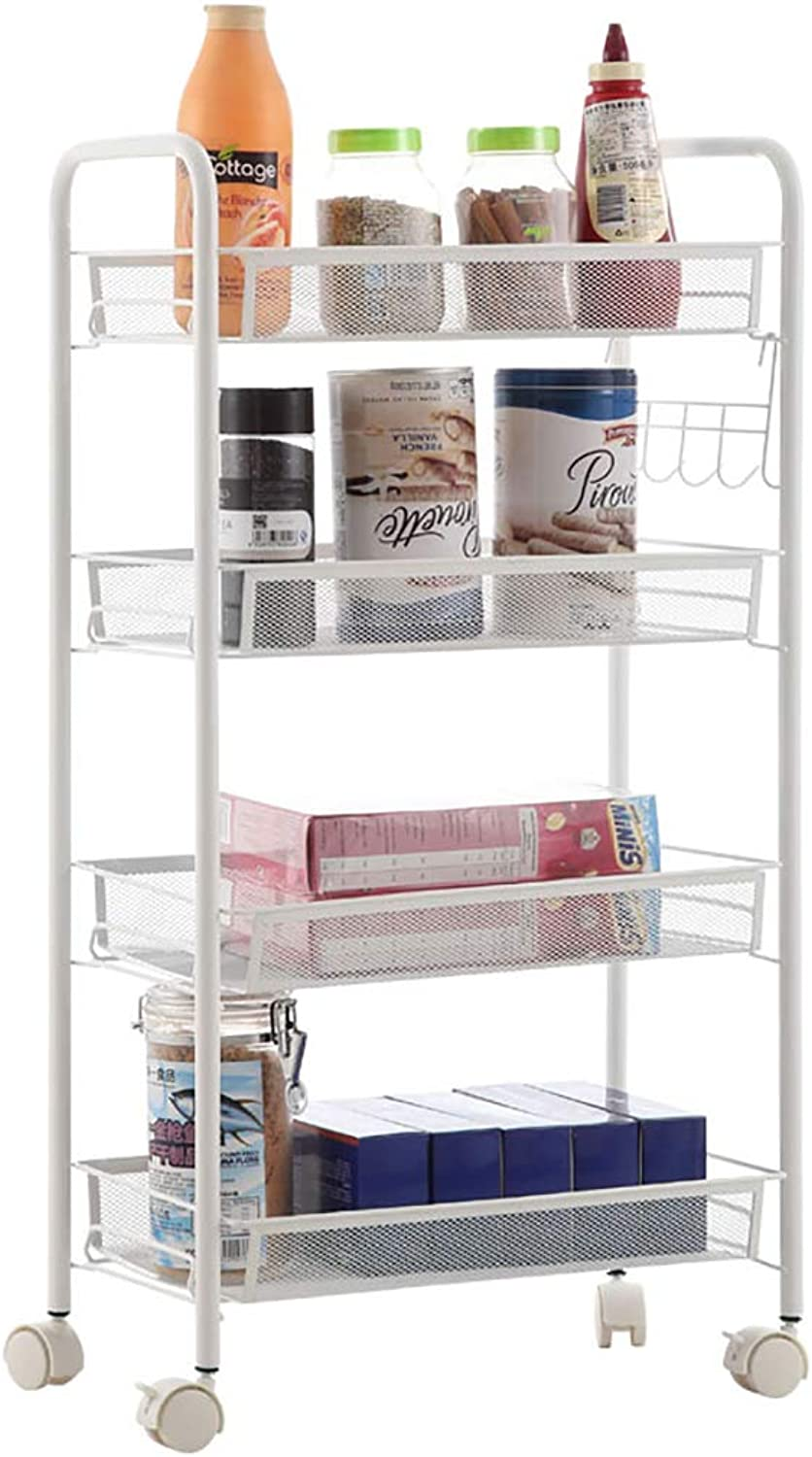 Storage Shelf Small cart Shelf it can Move Pulley Kitchen Bedroom Living Room Vegetable and Fruit Storage Rack