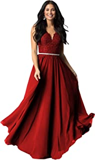 Best long v neck embroidered lace bodice prom dress Reviews