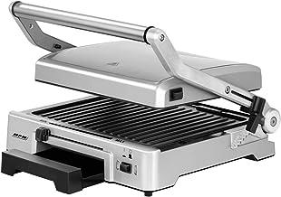 MPM MGR-10M Grill, dubbele schommeldeksel, in hoogte verstelbaar, grillplaten met antiaanbaklaag, roestvrij staal, tempera...