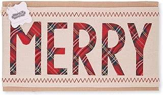 Mud Pie Classic Christmas Tartan Holiday Pillow Wrap (Merry)