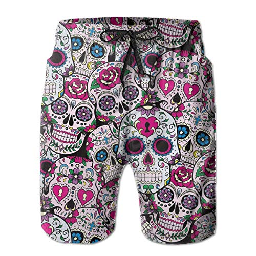 LarissaHi Herren Badehose Sommer Cool Sugar Skull Pattern Quick Dry Board Shorts Badeanzug mit Seitentaschen Mesh Futter M