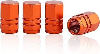 GODESON Orange Aluminum Tire Valve Stem Cap with Hexgon Style, 4 Pcs/Set, Aluminum Tire Wheel Stem Air Valve Caps for Auto...