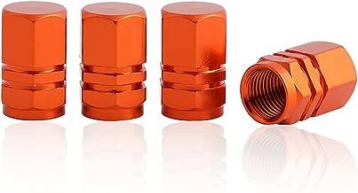 GODESON Orange Aluminum Tire Valve Stem Cap with Hexgon Style, 4 Pcs/Set, Aluminum Tire Wheel Stem Air Valve Caps for Auto Car Motorcycle Bicycle