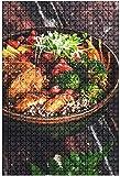 Rompecabezas de madera 500 piezas Mesa de desayuno Plato de desayuno Huevos fritos Verduras Setas Tostadas Divertido y desafiante Rompecabezas de mesa Juego Juguetes Regalo Decoración para el hogar-P