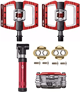 CRANKBROTHERs Crank Brothers Mallet DH Race/Mountain Bike Pedals (Red) with Cleats, M19 Multi Tool and Gem Pump Kit