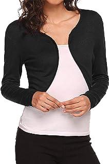 Women Casual Bolero Cardigan Solid Colour Long Sleeve Cardigan Shrug Knitted Crop Top Autumn Fashion Streetwear