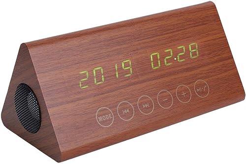 varios tamaños Aufee Reloj Digital, Reloj de de de Alarma de Madera LED Sensor táctil con 5 Tipos de música Relojes de Alarma PanTalla de Temperatura USB 212  102  92 mm Reloj(Número de Nuez verde)  descuento de ventas