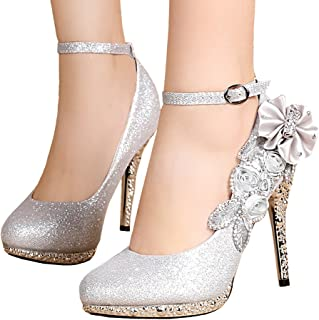 getmorebeauty Women's Glitter Sequins Strappy Closed Toes Dress Wedding Shoes