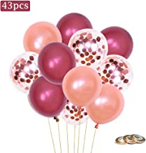 Burgundy Latex Balloons and Rose Gold Confetti Balloons,12 inch,43 pcs,Birthday Party Supplies Wedding Decorations