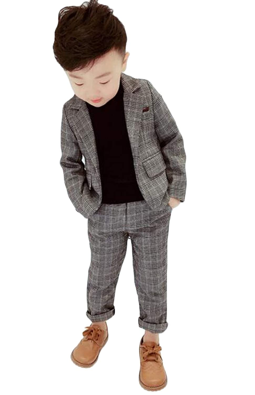 [ジャング] 男の子 ジャケット フォーマルスーツ 子供スーツ 卒業式 長袖 ジャケット 長ズボン チェック柄 2点セット 結婚式 七五三