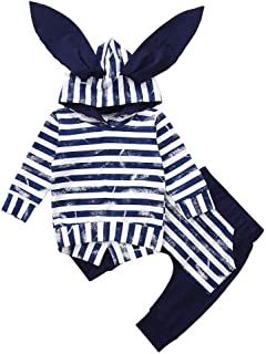 Baby Clothes Outfit, Newborn Infant Baby Boy Girl Clothes Long Sleeve Striped Rabbit Hoodie Sweatshirt+Pant Clothing Set