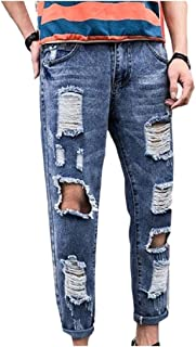 Energy Mens Ripped-Holes Trim-Fit Junior Straight Jeans Pants