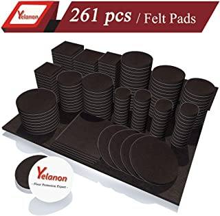 Yelanon Furniture Pads 261 Pieces - Self Adhesive Felt Pad Brown Felt Furniture Pads Anti Scratch Floor Protectors for Chair Legs Feet for Protect Hardwood Tile Wood Floor & Laminate Flooring