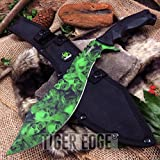 15' Z-Hunter Green Zombie Skull Heavy Tactical Machete with Carbon Sharp Blade Durable Fixed-Blade