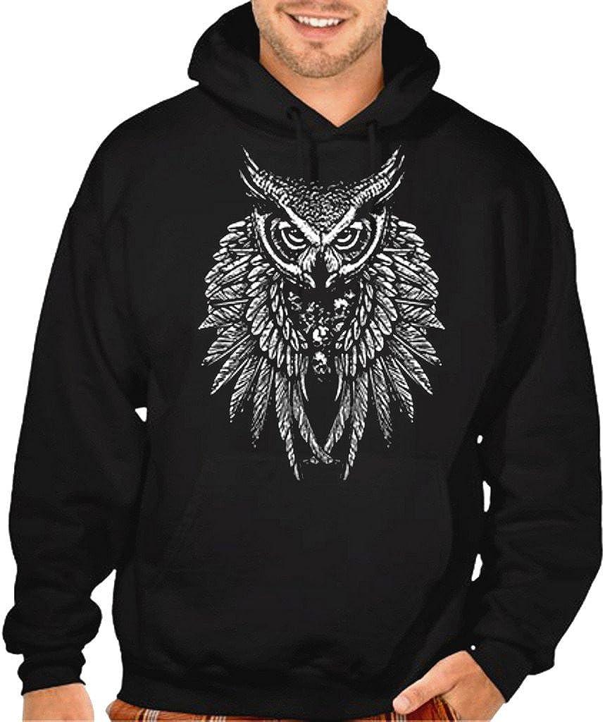 Men's Tribal Owl Skull Majestic Wings Gorgeous Hoodie Black Max 57% OFF Swea Pullover