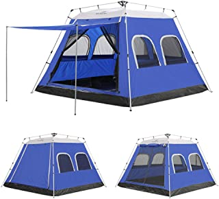 HOMEYA Camping Tent 4-6 Person 6 Screen Window Instant Cabin Tent, Waterproof Automatic Easy Quick Setup Pop Up Shelter Canopy Ventilation Dark Room Awning Sunshade for Travelling All Weather