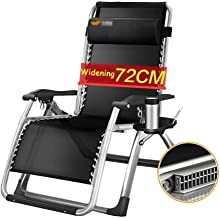 High-quality recliner Sun Lounger Oversize Zero Gravity Patio Lounger Chair Folding Chair Garden Outdoors Recliner Beach Supports 200kg with Cushions Armchair (Color : Silver)