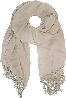 Womens Luxury Satin Solid Pashmina Wrap Scarf, Sandcastle