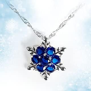 Women Girls Frozen Snowflake Crystal Pendant Necklace Cobalt Blue Pendant for Gift