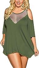 IYISS Plus Size Sexy Lingerie Babydoll Sleepwear Night Shirt