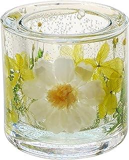 ハーバリウム キャンドルホルダー キュート ガラス ボタニカル ジェル 手作り キャンドルスタンド セット 花 (ジニアと黄緑のあじさい)