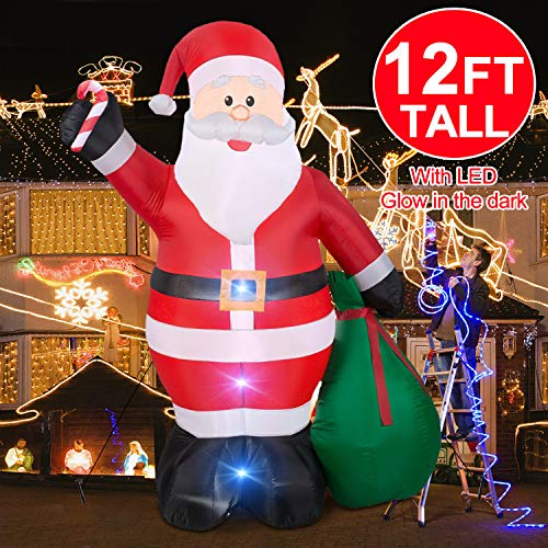 Christmas Inflatables Giant 12 Foot Inflatable Santa Claus with Gift Bag With LED Light for Christmas Yard Decoration Indoor Outdoor Yard Lawn Xmas Party Decoration Cute Fun Xmas Holiday Party Blow Up