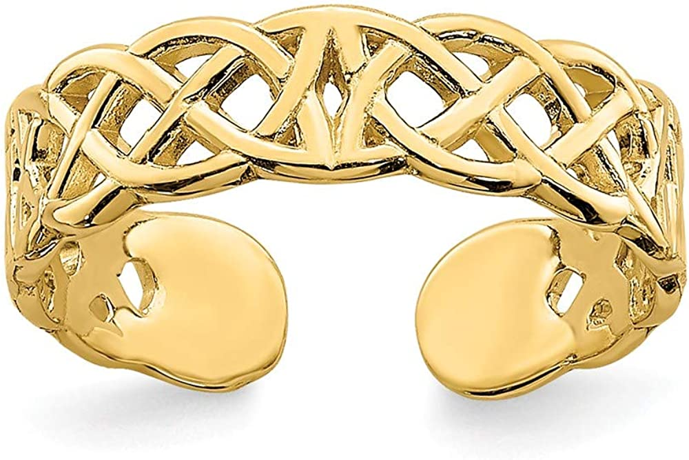 14K Yellow Gold Adjustable Lace Design Toe Ring