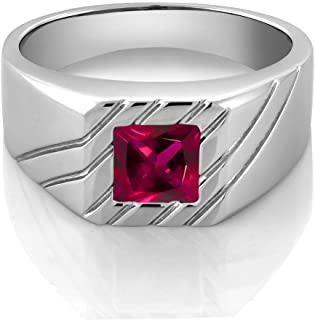 Gem Stone King 1.71 Ct Princess Red Created Ruby 925 Sterling Silver Men's Ring (Available 7,8,9,10,11,12,13)