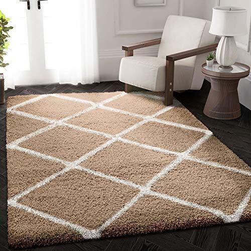 VIMODA Hochflor Shaggy Teppich Rauten Design Creme Beige Modern, Maße:80x150 cm