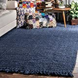 nuLOOM Natura Collection Chunky Loop Jute Area Rug, 5' x 7' 6', Navy Blue