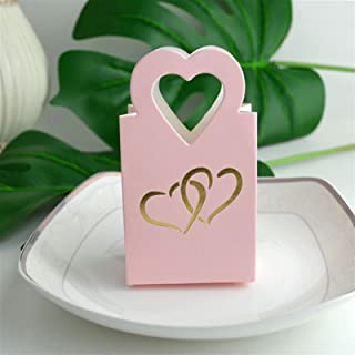 Gift Box 50pcs Double Heart Candy Box Packaging Favor and Gift Boxing DIY Hand Bags Baby Shower for Kids Birthday Party We...