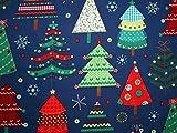 Metallic Weihnachten große Bäume Print Baumwolle Stoff,