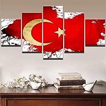 Flagge der Türkei schwarz//weiß Leinwandbild Wanddeko Kunstdruck