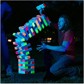LIMELITE GAMES Ultimate Black Light Giant Tumbling Tower - Entertain Your Large Group Day Or Night - Glowing Blocks - Premium Carrying Case - Precision Milled Wooden Stacking Block Set