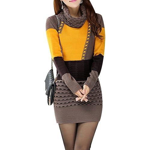 d3d295bf033 Yasong Women s Long Sleeve Turtleneck Knitted Jumper Dress Sweater