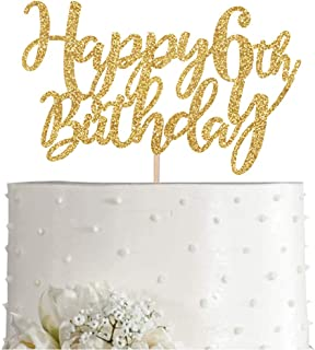 Gold Glitter Happy 6th birthday cake topper, Gold 6 years old birthday party decorations, girl or boy birthday cake toppers