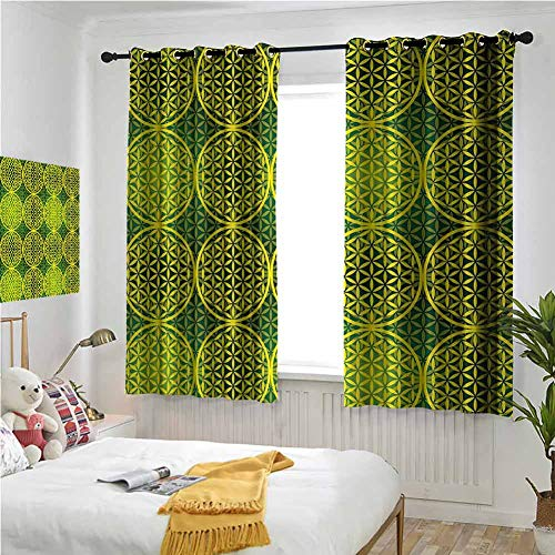 Yellow Hunter Green Curtains 84 Inches Long, Abstract Country Curtains 72x84 Inch Modern Vivid Flower of Life Meditation Ancient Code Icon Illustration Black Out Curtain for Babies Bedroom