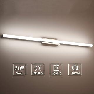 Yafido Lampe Miroir LED 90CM Applique Salle de Bain Blanc Neutre 4000K Luminaire Salle de Bain Intérieure Moderne lampe Ec...