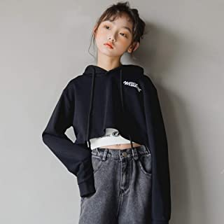 Girls Long-sleeved Hooded Loose Short Sweater High Quality (Color : Black)