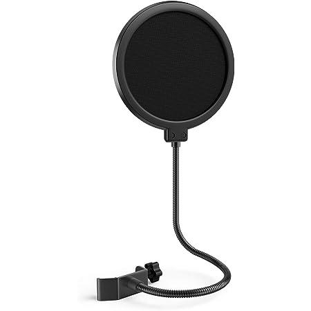 Maschera per microfono pop filtro per blu Yeti e altri microfoni, schermo da 6 pollici a doppio strato pop antivento con braccio di stabilizzazione flessibile a 360° a collo d'oca