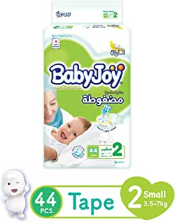 Babyjoy Compressed Diamond Pad Diaper Value Pack Small,Size 2, 44 Count, 3.5-7 Kg, 6281008277173