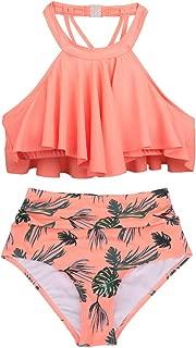 Women Falbala Bikini Set High Waist Bottom Flounce Swimsuit Bathing Suit