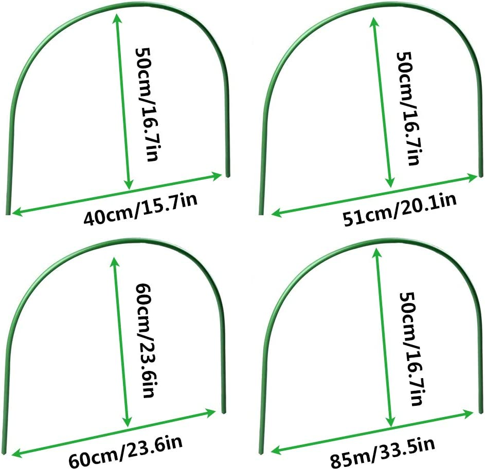 4 Sizes Greenhouse Hoops Frame Tunnel 6Pcs Plant Supports for Garden Grow Tunnel Adjustable Plant Support Garden Stakes for Garden Plants Shuifeng Greenhouse Hoops