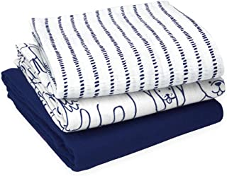 Oliver & Rain Organic Muslin Swaddle Sampler, 3-pack Newborns - Navy, Navy Dog Print, Navy Dash Stripe Print