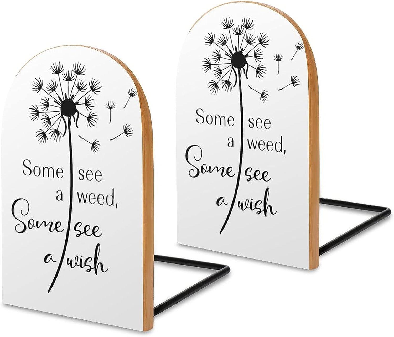 Dandelion Elegant Bookends for Selling rankings Shelves Offic Wooden Sapele
